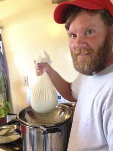 Draining the whey to make goat cheese!